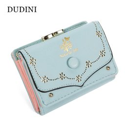 Wholesale Leather Ladies Billfold - Wholesale- DUDINI Fashion Short Women Wallets Candy Colors Embossed Ladies Clutch Coin Purse Hasp Lovely Card Holder Billfold Handbag
