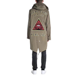Wholesale Brown Men S Trench Coat - 17FW Eye Embroidery Trench Coats PAKA Triangle Long Army Green Jacket Removable Cap Casual Couple Zipper Outerwear HFLSJK009