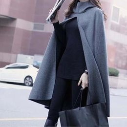 Wholesale trench outerwear - New Atumn winter fashion women's wool blend cape hooded trench coat casual cloak long outerwear for lady