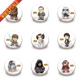 Wholesale Star Wars Free Shipping - Free Shipping,A Set of 18Pcs Star Wars Tin Buttons pins badges,30MM,Round Brooch Badge ,Mixed 18 Styles,Kids Party Favor