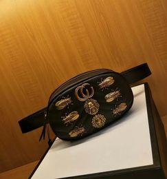 Wholesale Small Belt Bags - New Fashion Women Bag Luxury Leather Quality Handbags Designer Brand Vintage Shoulder Bag Marmonts Animal Studs Leather Belt Bag Totes 47643