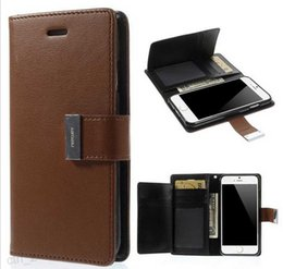 Wholesale Leather Covers For Diaries - Rich Diary wallet Leather Case with 2 Card Slots Pocket Cover for iPhone 7 6 6s Plus Samsung Galaxy S6 S7 Edge