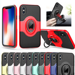 Wholesale Note Magnetic Case - Magnetic Ring Holder Case Car 360 Holder Defender Armor Leather Case Cover For iPhone X 8 7 Plus Samsung Note 8 S8 S7 Edge Plus J7 J5 2017