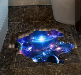 Wholesale Chinese 3d Posters - 2 style 3D Outer Space Planet decorative Wall Stickers for kids room floor Galaxy Stickers muraux muursticker vinyl wall decals poster wn308