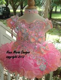 Wholesale Hot Girls Cupcake Pageant Dresses - Little Girls Pageant Dresses Hot Fixed Rhinestones Beaded Handmade Flowers Toddler glitz Mini Cupcake gorgeous