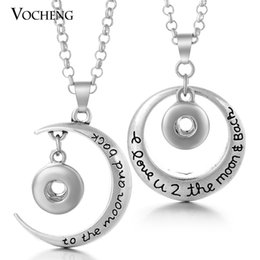 Wholesale Stainless Steel Moon Jewelry - Noosa Chunks Jewelry Trendy Petite 12mm Popper Jewelry Moon&Round Metal Snap Button Pendant Necklace with Stainless Steel Chain NN-232