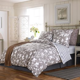 Wholesale double comforter sets - Wholesale-2015 new flower printing design korean double size bed cover set 4 pcs with pillows bed sheet 100% cotton bedding comforter sets