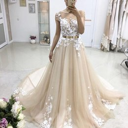 Wholesale Short Ruffle Dress Belt - Gorgeous Champagne Tulle Appliques Evening Dresses Sheer Neck Cap Sleeves Metal Belt Ball Gown Prom Dresses Formal Evening Dresses