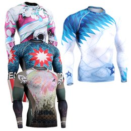 Wholesale Use Champagne - Wholesale-Long Sleeves Mens Skin Rash Guard Complete Printing Compression Shirts Multi-use Fitness GYM MMA Running Body Building Tops