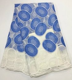 Wholesale White Swiss Cotton Voile Lace - Luxury Sky Blue And White embroidery african cotton lace fabric flower design swiss voile lace for clothes GN147-2