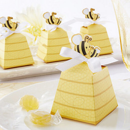 """Wholesale Bees Birthday - Birthday party candy box--Cute Type """"Sweet as Can Bee!"""" Mom and Baby Beehive Baby Shower favor box wedding box 50pcs lot"""