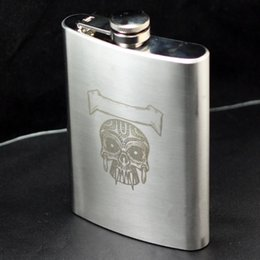 Wholesale Stainless Steel Skull Flask - Wholesale-3pcs Lot Hip Flask 8 oz Stainless Steel A- Skull