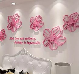 Wholesale 3d Rose Wall - Posters Crystal Rose Wall Stickers Acrylic Material Wallpaper Environmental Home Bedroom Office Decor Creative Style Wall Decals MYY
