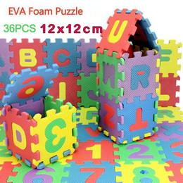 Wholesale Padded Floor Mats For Kids - 36Pcs 12CM*12CM Environmentally EVA Foam puzzle Numbers+Letters Play Mat Puzzle Floor Mats Baby Carpet Pad Toys For Kids Free Shipping
