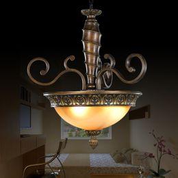 Wholesale Wrought Iron Glass Light - European Vintage Pendant Light American Industry Simple Wrought Iron Glass Pendant Light Cafe Bar Dining Room Lamp