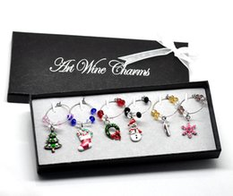 Wholesale Glass Wedding Box - Wholesale-New 1Box Mixed Christmas Wine Glass Charms For Adornos Navidad Wedding Table Decorations With Box Silver Plated 50x25mm-57x25mm