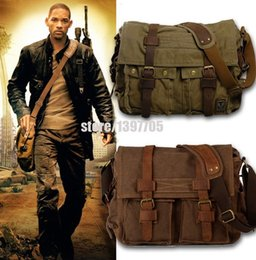 Wholesale Military Canvas Messenger Bag - HOT Canvas crossbody bag men,I AM LEGEND Will Smith military army vintage Canvas messenger bags laptop canvas satchel men HF2138