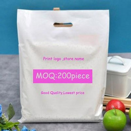 Wholesale Plastic Shopping Bags Black - Customize Logo Plastic Shopping Bags Store personalized packaging case Green Black white Red Pastel Pouches