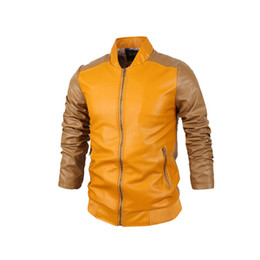 Wholesale European Leather Jackets For Men - Fall-Stylish Yellow Leather Jackets For Men Sheepskin Coat Bomber Jacket Patchwork European Style High Quality Man Pink
