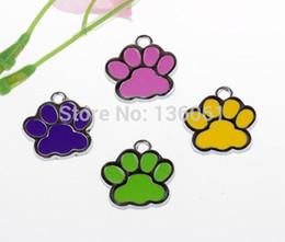 Wholesale Enamel Paw Charms - 50PCs Vintage Mixed Color Cats Dogs Enamel Paw Prints Charms Pendants 28*27mm Fit Bracelet Fashion Jewelry Making Craft DIY X263
