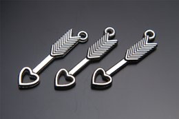 Wholesale Jewelry Necklace Connector Pieces - Top Sale 200 pieces 30mm Love arrow Charms connector Beads Lover Pendant 7162 925 Tibet Silver DIY Jewelry Beads Europe Bracelet Necklace