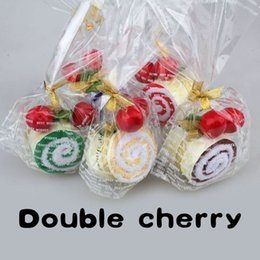 Wholesale Cherry Cotton Cake Towel - Hot sale Lovey soft With Two Cherry Top Decor Roll Cotton Cake Towel Free Shipping MTY3 party decoration