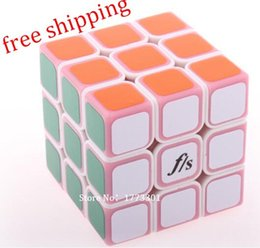 Wholesale Toy Funs - Wholesale-free shipping ! FS Funs little ShuangRen 54.6mm 3x3x3 magic cube , white body pink cover , FangShi speed cube , Educational toy