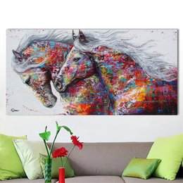 Wholesale Wall Street Prints - large size Frameless Graffiti Art Street Canvas Wall Pictures Andy warhol and Banksy Horse canvas painting bedroom living room decoration