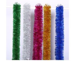 Wholesale Tinsel Wholesale - 100 pcs Lot Christmas Tree Decoration 100 Strings 2m Ornaments Golden Silvery Christmas Garland Tinsel Bar Garlands New Year Decoration