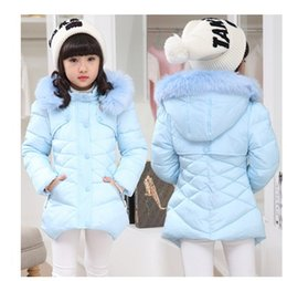 Wholesale Girls Feather Jacket - High-quality New 2015 Casual Children Parka Girls Winter Coat Medium Long Thick Faux Fur Hooded Winter Jacket For Girls PT386