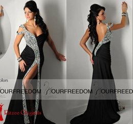 vintage summer dress designs Promo Codes - 2019 Ritzee Originals Black Pageant Designs Prom Dresses Off-Shoulder Sexy Front Split Open Back Mermaid Evening Gown Shining Crystal Gowns
