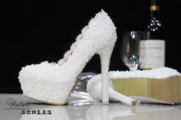 2019 laranja casamento sapatos nupcial 2017 Hot Sale Da Moda Laço Branco Sapatos de Casamento da pérola 10-11 cm de Salto Alto Sapatos De Noiva Partido Prom Mulheres Sapatos à prova d 'água sapatos frete Grátis