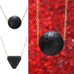 Wholesale Triangle Necklace Pendant Men - Shellhard Charms Necklace Statement Boho Collier Vintage Black Round Triangle Volcano Lava Stone Pendant Necklace Women Men Jewelry D226S