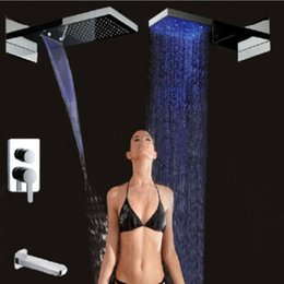 """Wholesale Large Waterfall Shower Heads - Wholesale And Retail Promotion Large 22"""" LED Waterfall Rain Shower Head Bathtub Faucet Spout Shower Mixer Tap"""