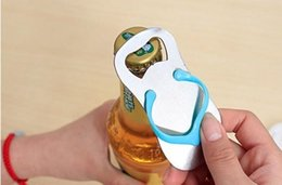 Wholesale Slippers For Wedding Favors - Flip Flop bottle opener wedding gift party favors slippers beer bottle opener gift packing for festive party supply 1203#03