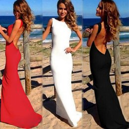 Wholesale Evening Gowns Wholesale Sleeves - Sexy Maxi Evening Dresses Bare Back Asymmetric Hem Long Crew Neck Sleeveless Prom Party Gown Robe de Soiree Black White Red G0919