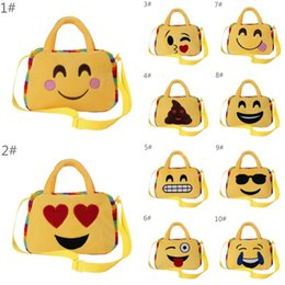 Wholesale Kindergarten Gifts Girl - INS Cute Emoji Bags Kid Shoulder School Bag Kindergarten Xmas Gift Kids Lovely Cartoon Emoji Emoticon Plush Handbag