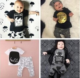 Wholesale Boys Organic Briefs - summer style Brand children clothing set kids clothes boys & girls clothes baby sport suits T-shirt hoodies+pant more style hight quality f