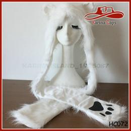 Wholesale Polar Bear Animal Hats - Wholesale-Free Shipping Winter Polar Bear Faux Fur Hood Animal Hoods Hat Cap Cartoon Plush Hats With Scarf Paws