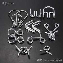 Wholesale Metal Mind Teasers - Wholesale-Hot Sale 7 pcs lot IQ Test Toys Mind Logic Game Brain Teaser Metal Wire Puzzles Classical Chinese educational Toy for Kid Adult