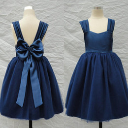 Wholesale Light Blue Dress Costume - 2015 Navy Blue Flower Girl Dresses A Line Straps Backless Big Bow Tea Length Kids Gown for Wedding halloween costumes gowns new design 2016