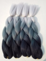 """Wholesale Wholesale Synthetic African Hair - New Black Blue-grey Grey 3T Ombre Jumbo Box Braids 5packs 24"""" Synthetic Cabelo Haar Zopfe African Twist Box Ombre Braiding Hair Bulk"""