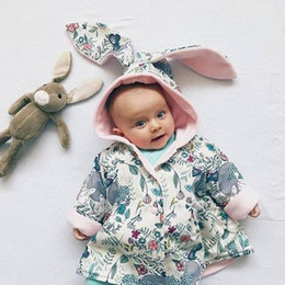 Wholesale Cute Winter Coats For Girls - Cute Bunny Girls Coats Big Ears Floral Printed Rabbit Coat For Princess Baby Girl Clothing Coats Outwear Tops Cardigan Cotton Coat A7997
