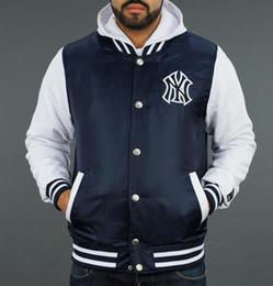 Wholesale Casual Baseball Sweater - Free shipping sweatshirts men hoodies New York NY logo waterproof layer stitching casual clothing baseball hooded sweater W5937Y