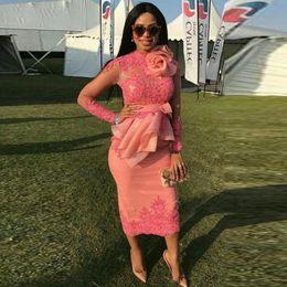 Wholesale Coral Cap Sleeve Dress - 2017 Evening Dress Tea Length Robe De Soiree Nigerian Evening Dresses Pink Abendkleider Long Sleeves Evening Gowns Peplum Pleats