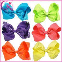 "Wholesale blue grosgrain ribbon - 30 Pcs lot Free Shipping 5"" Grosgrain Ribbon Hairbow With Mental Clip Neon Color Hair Accessories Handmade Girls Hair Bows"