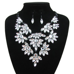Wholesale Bridal Jewelry Sets Korean - DS092 Women's Wedding Jewelry Fashion Korean European Style Earrings Geometric Crystal Necklace Set for Brides Bridal Jewelry Sets