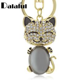 Teclas sonríen online-beijia Smile Cat Opals Crystal Enamel Llaveros Llaveros Para Car Purse Bag Hebilla titular de las cadenas para las mujeres K169