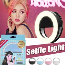 Wholesale Iphone Flash Ring - Universal Portable Selfie Ring Flash Lamp Mobile Phone LED Fill Light Selfie Ring Flash Lighting Camera Photography For iPhone Samsung