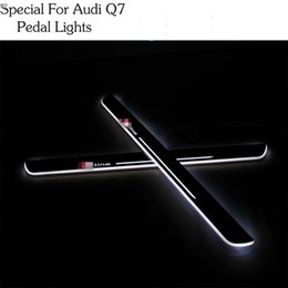Wholesale Drl Lights Audi - For Audi Q7 Car Styling LED pedal light pathway light Moving Door Scuff Door Sill Plate Cover Side Step Led DRL lamp